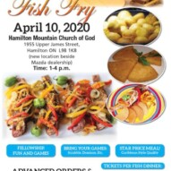 Annual 'Fish Fry' – 'Good Friday' – April 10, 2020.       Time 1 – 4 pm.