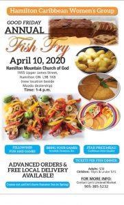 Annual 'Fish Fry' - 'Good Friday' - April 10, 2020.       Time 1 - 4 pm. @ Hamilton Church of God | Hamilton | Ontario | Canada